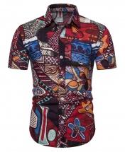Men's Motif Cotton Short Sleeved Casual Shirt CS3