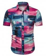 Men's Motif Cotton Short Sleeved Casual Shirt CS5
