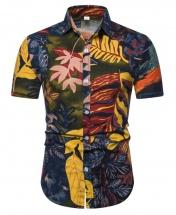 Men's Motif Cotton Short Sleeved Casual Shirt CS9