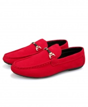 Men's Suede Mocassin Loafers Slip-On Casual Shoes - Red