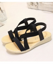 Flat Solid Colour Elastic Band Roman Rubber Sole Sandals - Black