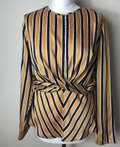 ATM Striped Long Sleeved Front Twisted Top