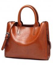 Women's Fashion Leather Trapeze Bag - Brown