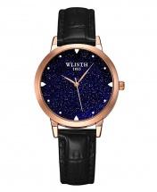 Wlisth Fashion Starry Sky Women's Waterproof Quartz Leather Watch - Black