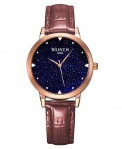 Wlisth Fashion Starry Sky Women's Waterproof Quartz Leather Watch - Brown