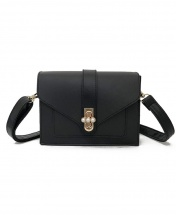 Women's New Wave Retro Fashion Shoulder Messenger Handbag - Black