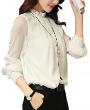 Women's New Fashion Ruffled Chiffon Long-Sleeved Shirt - White