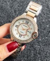 Contena Luxury Ladies Studded Womens Quartz Watch - Rose Gold and Silver
