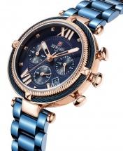 Reward VIP Women Three Eyes Quartz Bracelet Wrist Watch - Blue