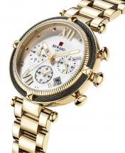 Reward VIP Women Three Eyes Quartz Bracelet Wrist Watch - Gold