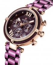 Reward VIP Women Three Eyes Quartz Bracelet Wrist Watch - Purple