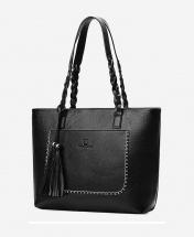 Women's European Style Fashion Leather Tote Handbag - Black