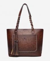 Women's European Style Fashion Leather Tote Handbag - Dark Brown