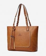 Women's European Style Fashion Leather Tote Handbag - Wheat