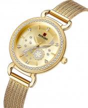 Reward Studded Milan Mesh Women Watch - Gold