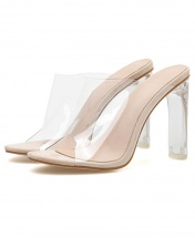 Women's Transparent Slide Heel - Apricot