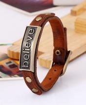 Believe Men's Fashion Leather Bracelet - Brown