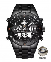 Golden Hour Military Dual-Time Waterproof Silicone Rubber LED Sport Watch - Black Face