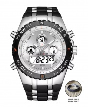 Golden Hour Military Dual-Time Waterproof Silicone Rubber LED Sport Watch - Silver Face