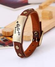 Love Men's Fashion Leather Bracelet - Brown