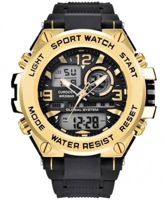 Curdden Multifunction Dual Display Digital Waterproof Rubber Strap Sport Watch - Gold