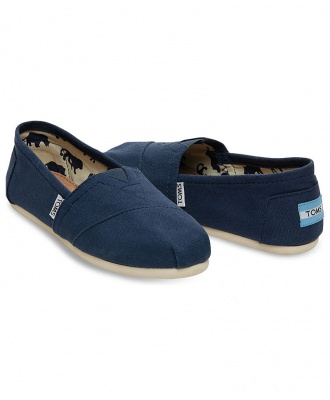 TOMS Womens Classic Canvas Casual Slip-On Shoes - Navy