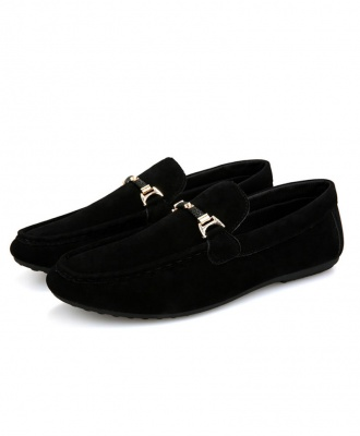 Men's Suede Mocassin Loafers Slip-On Casual Shoes - Black