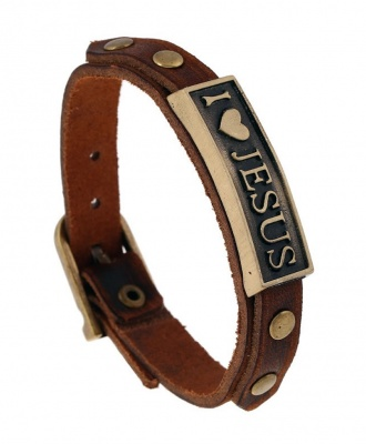I Love Jesus Fashion Leather Bracelet - Brown