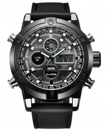 Xinew New Fashion Digital Men Leather Analog and Digital Watch Dual Time Watch - Seli.com.ng