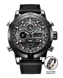 Xinew Men Military Dual-Time Digital and Analog Leather Watch - Black PLUS FREE BRACELET