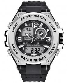 Curdden Multifunction Dual Display Digital Waterproof Rubber Strap Sport Watch - Silver