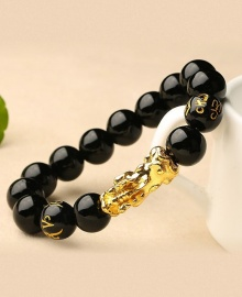Pixiu Obsidian Stone Bead 3D Gold Chinese Black Crystal Good Luck Bracelet - Black