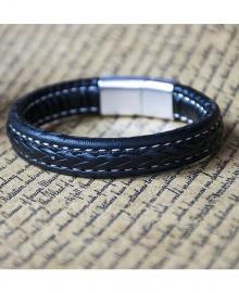 Men's Fashion Thick Leather Retro Bracelet - Black