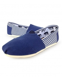 TOMS Classic Canvas Casual Slip-On Shoes - Sttipped Blue