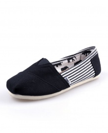 TOMS Classic Canvas Casual Slip-On Shoes - Stripped Black