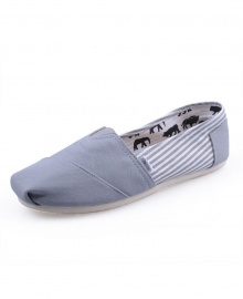 TOMS Classic Canvas Casual Slip-On Shoes - Stripped Gray