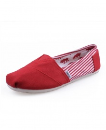 TOMS Classic Canvas Casual Slip-On Shoes - Stripped Red