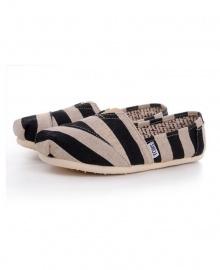 TOMS Classic Canvas Casual Slip-On Shoes - Black Zebra