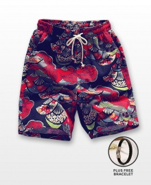 Men's Casual Multicoloured Linen Summer Beach Shorts - Red Fans