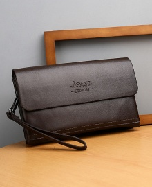 Jeep Men's Luxury Fashion Wallet Leather Clutch Bag Purse - Brown