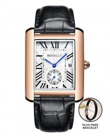 Benally Men's Leather Wrist Watch Gold Case Black Leather PLUS FREE BRACELET