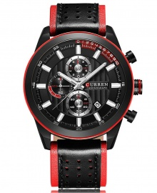 Curren Multi-Function Chronograph Leather Strap Waterproof Sports Watch - Black