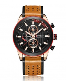 Curren Multi-Function Chronograph Leather Strap Waterproof Sports Watch - Brown