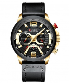 Curren Men's Chronograph Luxury Waterproof Leather Watch - Black and Gold