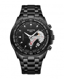 Wlisth 1853 Men's Waterproof Bracelet Silver Chain Watch - Black