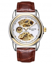 Wlisth 1853 Men's Automatic Mechanical Leather Watch - Brown Leather