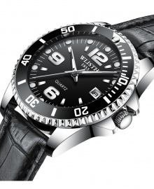 Wlisth 1853 Men's Corporate Leather Watch - Black Leather