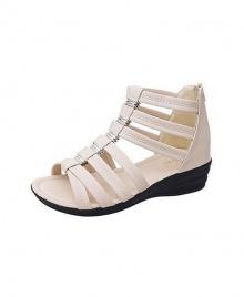 Women's Heeled Sandals Solid Colour Roman Style Shoes - Beige
