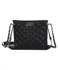 Wowen's Rhombic Embroidered Line Shoulder Crossbody Bag (Black)