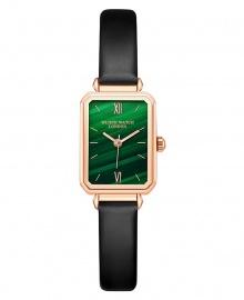 Wlisth London Small Case Women's Green Face Retro Leather Watch - Black